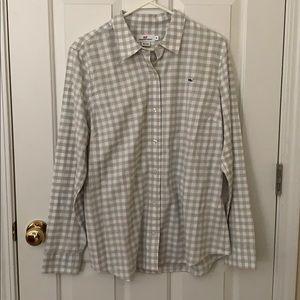 Vineyard Vines gray + white longsleeve plaid shirt